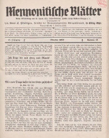 Mennonitische Blätter, Oktober 1933, nr 10, Jahrgang 80.
