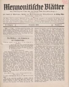 Mennonitische Blätter, November 1933, nr 11, Jahrgang 80.