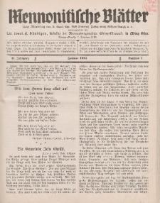 Mennonitische Blätter, Januar 1934, nr 1, Jahrgang 81.