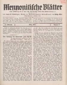 Mennonitische Blätter, März 1934, nr 3, Jahrgang 81.