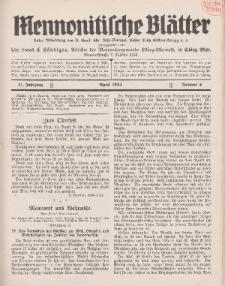 Mennonitische Blätter, April 1934, nr 4, Jahrgang 81.