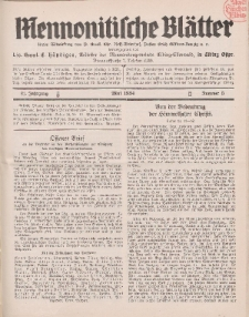 Mennonitische Blätter, Mai 1934, nr 5, Jahrgang 81.