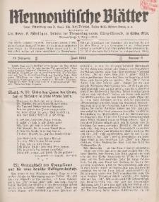 Mennonitische Blätter, Juni 1934, nr 6, Jahrgang 81.