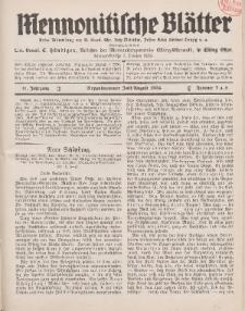Mennonitische Blätter, Juli / August 1934, nr 7 / 8, Jahrgang 81.