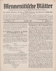 Mennonitische Blätter, November 1934, nr 11, Jahrgang 81.