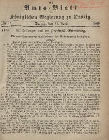 Amts-Blatt der Königlichen Regierung zu Danzig, 11. April 1866, Nr. 15