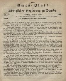 Amts-Blatt der Königlichen Regierung zu Danzig, 6. Juni 1866, Nr. 23
