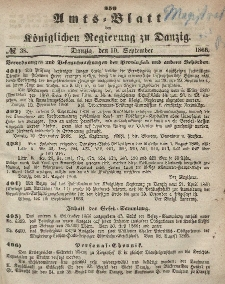 Amts-Blatt der Königlichen Regierung zu Danzig, 19. September 1866, Nr. 38