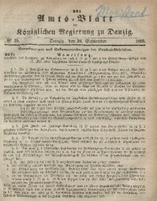 Amts-Blatt der Königlichen Regierung zu Danzig, 26. September 1866, Nr. 39