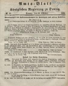 Amts-Blatt der Königlichen Regierung zu Danzig, 24. Oktober 1866, Nr. 43