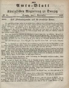 Amts-Blatt der Königlichen Regierung zu Danzig, 7. November 1866, Nr. 45