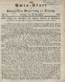 Amts-Blatt der Königlichen Regierung zu Danzig, 12. Dezember 1866, Nr. 50