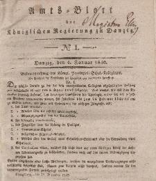 Amts-Blatt der Königlichen Regierung zu Danzig, 1. Januar 1840, Nr. 1