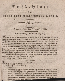Amts-Blatt der Königlichen Regierung zu Danzig, 12. Februar 1840, Nr. 7