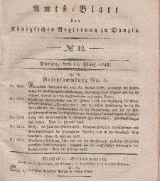 Amts-Blatt der Königlichen Regierung zu Danzig, 18. März 1840, Nr. 12
