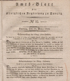 Amts-Blatt der Königlichen Regierung zu Danzig, 25. März 1840, Nr. 13