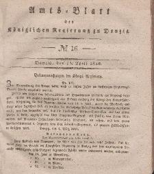 Amts-Blatt der Königlichen Regierung zu Danzig, 15. April 1840, Nr. 16