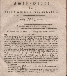 Amts-Blatt der Königlichen Regierung zu Danzig, 22. April 1840, Nr. 17