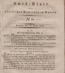 Amts-Blatt der Königlichen Regierung zu Danzig, 29. April 1840, Nr. 18