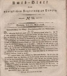 Amts-Blatt der Königlichen Regierung zu Danzig, 27. Mai 1840, Nr. 22