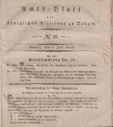 Amts-Blatt der Königlichen Regierung zu Danzig, 8. Juli 1840, Nr. 28