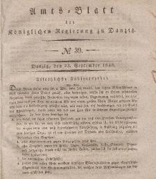 Amts-Blatt der Königlichen Regierung zu Danzig, 23. September 1840, Nr. 39