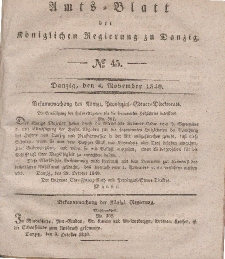 Amts-Blatt der Königlichen Regierung zu Danzig, 4. November 1840, Nr. 45