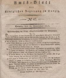Amts-Blatt der Königlichen Regierung zu Danzig, 18. November 1840, Nr. 47