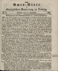 Amts-Blatt der Königlichen Regierung zu Danzig, 28. Dezember 1864, Nr. 52