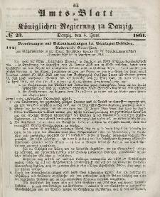 Amts-Blatt der Königlichen Regierung zu Danzig, 5. Juni 1861, Nr. 23