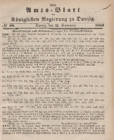 Amts-Blatt der Königlichen Regierung zu Danzig, 24. September 1862, Nr. 39