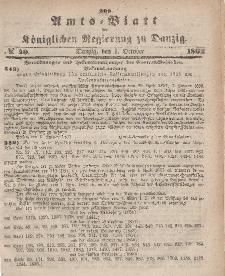 Amts-Blatt der Königlichen Regierung zu Danzig, 1. Oktober 1862, Nr. 40