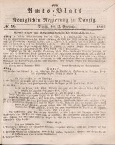 Amts-Blatt der Königlichen Regierung zu Danzig, 12. November 1862, Nr. 46