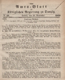 Amts-Blatt der Königlichen Regierung zu Danzig, 26. November 1862, Nr. 48