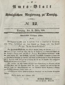 Amts-Blatt der Königlichen Regierung zu Danzig, 19. März 1856, Nr. 12