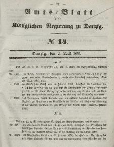 Amts-Blatt der Königlichen Regierung zu Danzig, 2. April 1856, Nr. 14