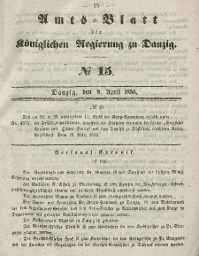 Amts-Blatt der Königlichen Regierung zu Danzig, 9. April 1856, Nr. 15