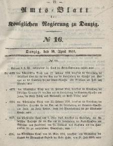 Amts-Blatt der Königlichen Regierung zu Danzig, 16. April 1856, Nr. 16