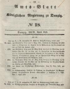 Amts-Blatt der Königlichen Regierung zu Danzig, 30. April 1856, Nr. 18