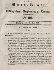 Amts-Blatt der Königlichen Regierung zu Danzig, 16. Juli 1856, Nr. 29