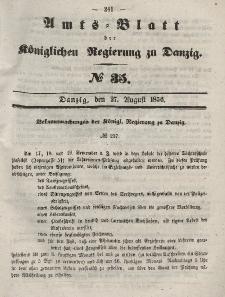Amts-Blatt der Königlichen Regierung zu Danzig, 27. August 1856, Nr. 35