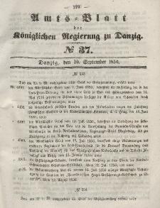 Amts-Blatt der Königlichen Regierung zu Danzig, 10. September 1856, Nr. 37