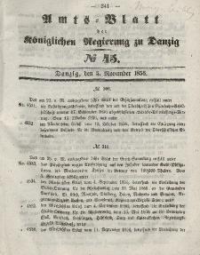 Amts-Blatt der Königlichen Regierung zu Danzig, 5. November 1856, Nr. 45