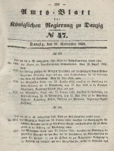 Amts-Blatt der Königlichen Regierung zu Danzig, 19. November 1856, Nr. 47
