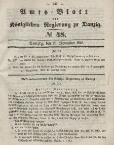 Amts-Blatt der Königlichen Regierung zu Danzig, 26. November 1856, Nr. 48