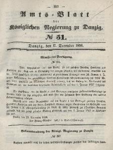 Amts-Blatt der Königlichen Regierung zu Danzig, 17. Dezember 1856, Nr. 51