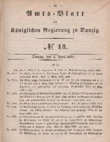 Amts-Blatt der Königlichen Regierung zu Danzig, 4. April 1860, Nr. 14