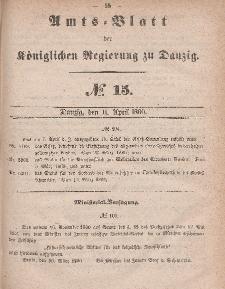 Amts-Blatt der Königlichen Regierung zu Danzig, 11. April 1860, Nr. 15