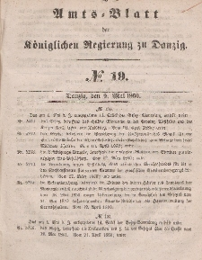 Amts-Blatt der Königlichen Regierung zu Danzig, 9. Mai 1860, Nr. 19