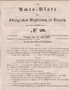 Amts-Blatt der Königlichen Regierung zu Danzig, 16. Mai 1860, Nr. 20